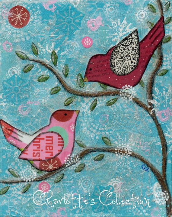 I want do this in form of a journal, make the snow with white emboss powder, pretty! (Snow Birds Original Mixed Media Art 8 x 10 by Charlotte's Collection, $25.00)