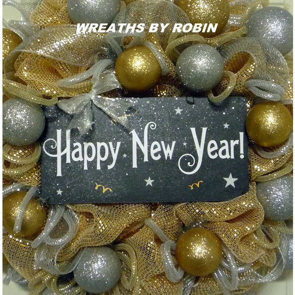 Happy New Years New Years Eve Wreaths Black Gold Silver Wreaths Deco... ($70) ❤ liked on Polyvore featuring home, home decor, holiday decorations, grey, home & living, home décor, ornaments & accents, joy ornament, black home decor and black ornaments