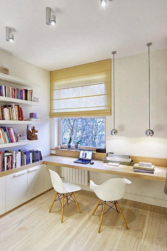 Lamparas de mesa colgando - Distribución estupenda para mesa debajo ventana y doble espacio de trabajo/estudio - OFFICE SPACE