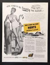 1950 Hertz rent a car girl bathing suit rental car illustrated vintage print ad