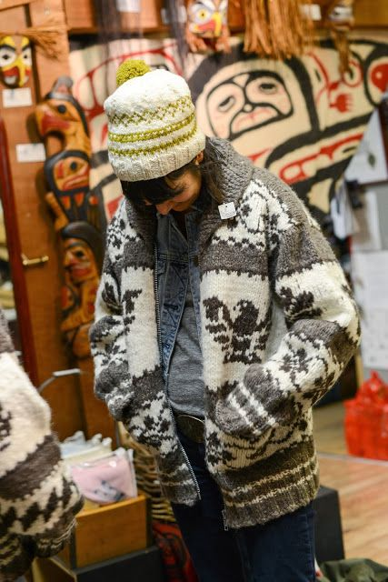 Anna Dianich of Tolt Yarn and Wool in a genuine Cowichan sweater. Photo copyright Kathy Cadigan 2013.
