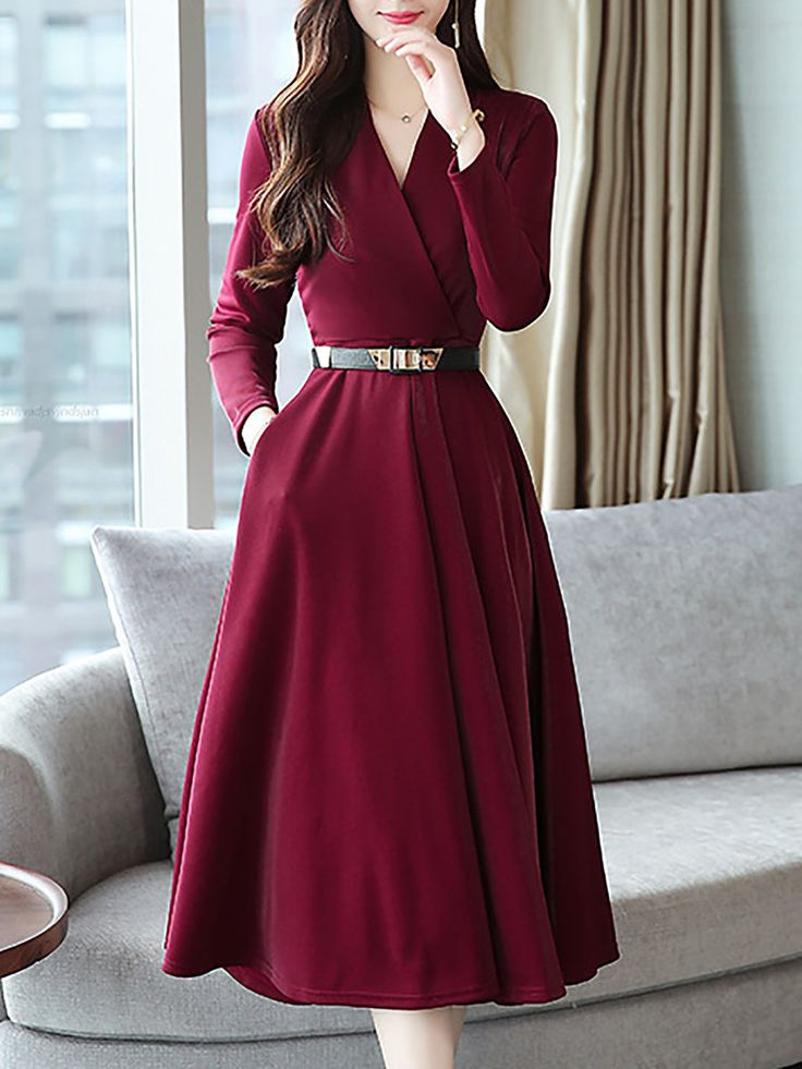 Stylewe Casual Dresses Long Sleeve Wrap Dresses Daytime A-Line Surplice Neck Wor…