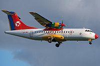 Danish Air Transport (DAT) ATR 42-320 OY-JRJ aircraft, on short finals to Germany Berlin Tegel International Airport. 17/04/2016.