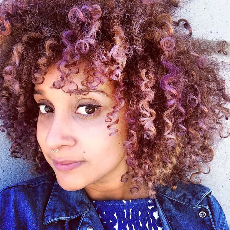 purple afro pastel curly hair
