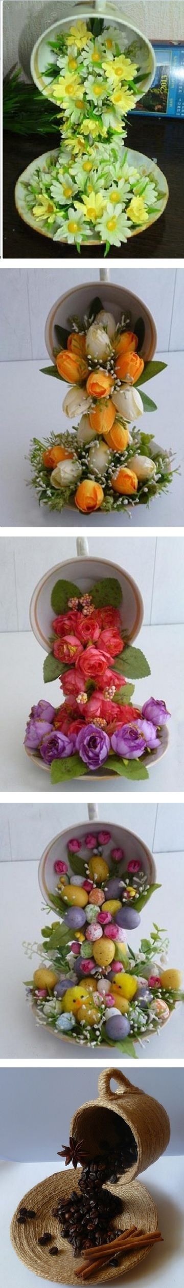 "Love this idea for recycling old teacups and saucers - pretty flower  ""waterfalls""! :)   Tutorial."