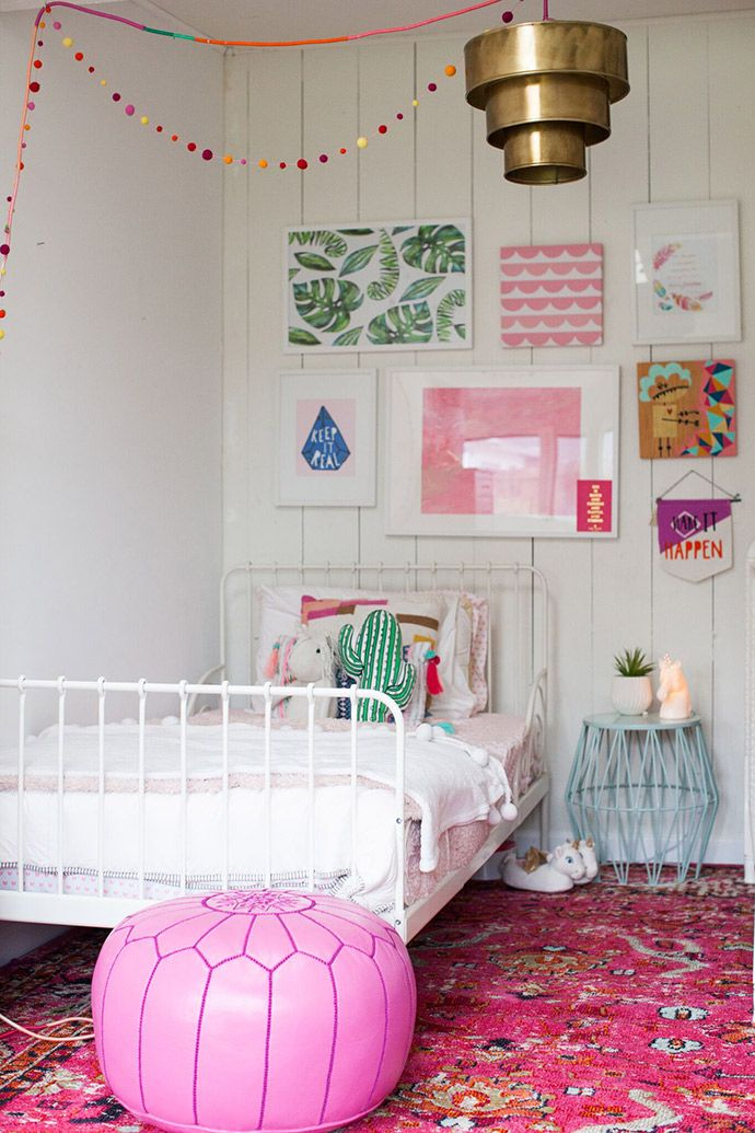 moroccan pouf + kid-friendly gallery wall