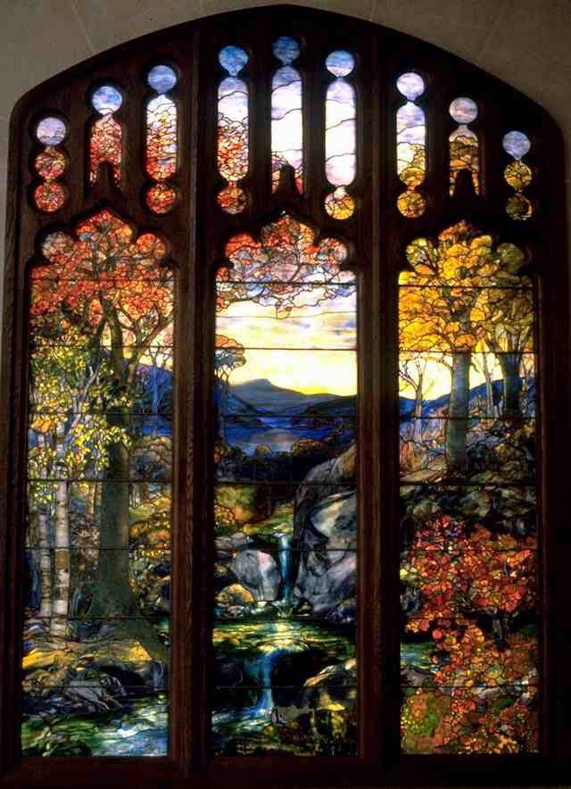 Art Renewal Center :: Louis Comfort Tiffany :: Autumn Landscape Louis Comfort Tiffany (1848-1933)Autumn LandscapeLeaded Favrile-glass1923-1924259.1 x 335.3cm(8 6.01 x 11)Metropolitan Museum of Art (Manhattan, New York, United States)