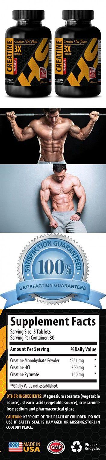 Pre workout pills for men - CREATINE TRI-PHASE (3X FORMULA) - Creatine pills - 2 Bottles 180 Tablets
