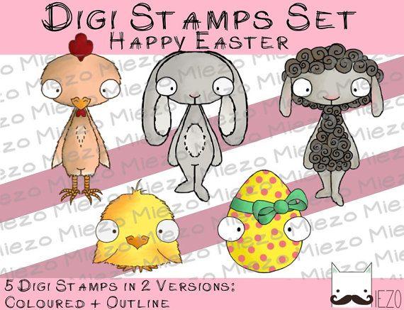 Digitale Stempel Digi Stamps Set Happy Easter je Stamp 2 von Miezo