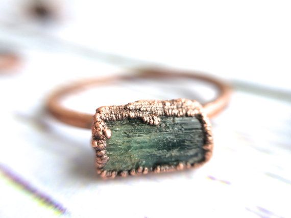 Raw tourmaline ring  Green tourmaline crystal ring  by HAWKHOUSE