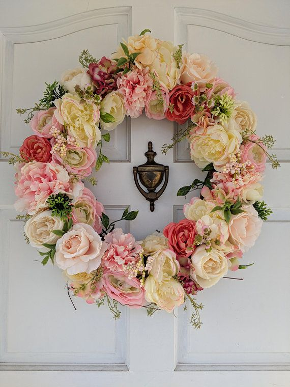 Mothers Day Shabby Chic Bicycle Wreath Daisy Wreath Hello Spring Large Spring Wreath Front Door Decor Spring Paper Flower Wreath