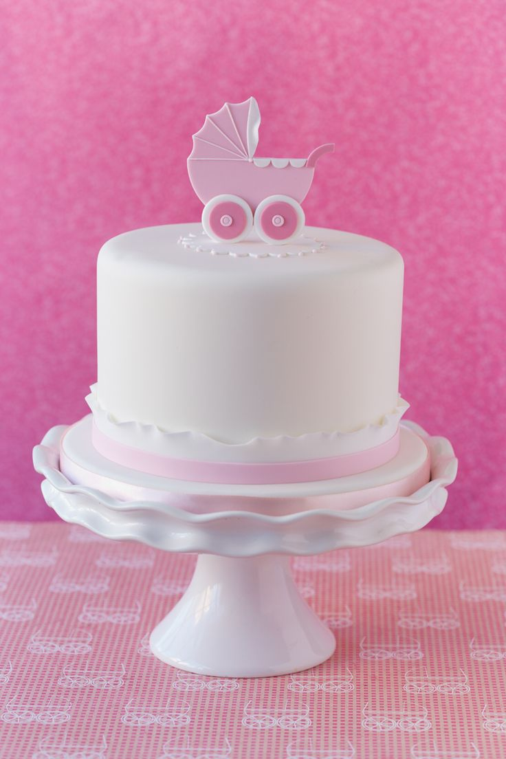 Baby shower cake, simple, pink, baby girl