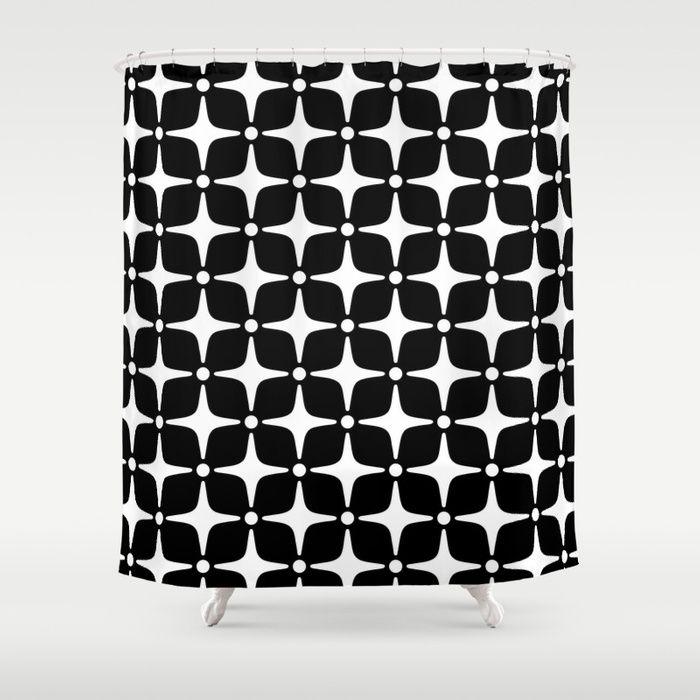 Buy Mid Century Modern Star Pattern Black And White 2 Shower