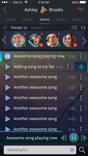 Beautiful friend's music screen for a music app. Visit our site for more awesome UI designs!