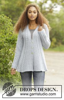 "Bridget - Knitted DROPS jumper with textured pattern and A-shape worked top down in ""Alpaca"" and ""Kid-Silk"". Size: S - XXXL. - Free pattern by DROPS Design"