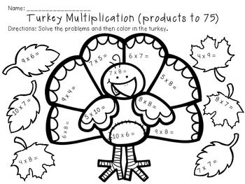 Thanksgiving Multiplication Color By Number Worksheets