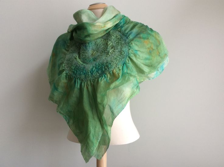 Hand dyed  silk and merino wool, double layered triangular scarf with three large nuno felted medallions. by FeltTheFluff on Etsy