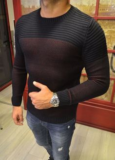 Modagen.com | Erkek Giyim, Erkeklere Özel Alışveriş Sitesi ~ Bordo Siyah Tarz Erkek Kazak