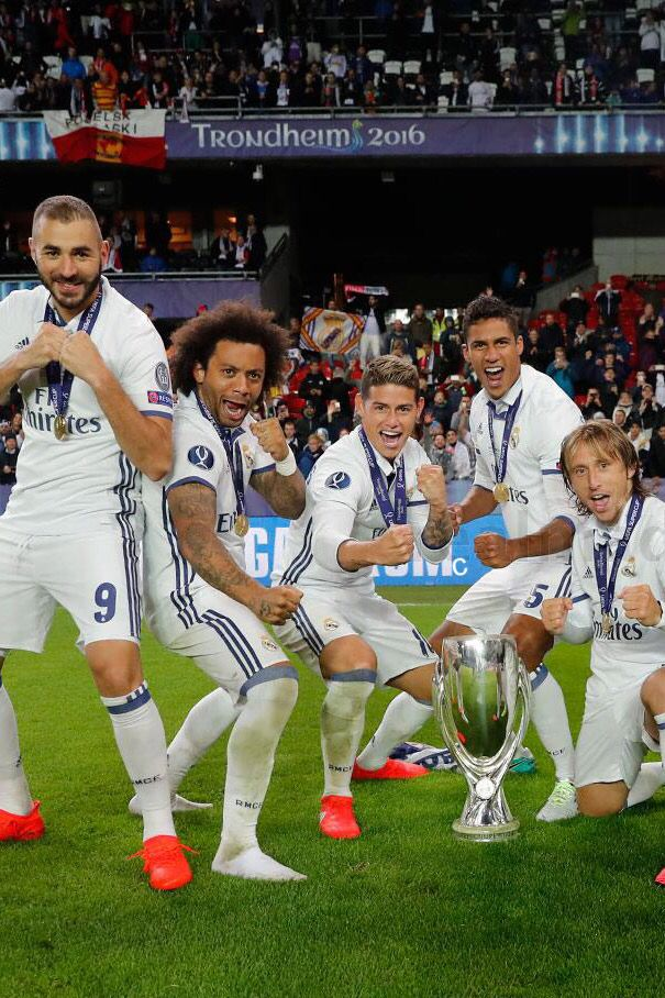 James Rodriguez UEFA Super Cup 2016  with Benzema, Marcelo, Verane and Modric