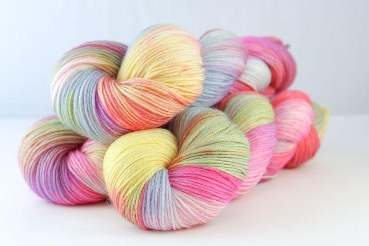 Colour - variegated butter yellow, sky, tangerine, lime, candy pink, amethyst, purple, natural white  Available in:    Sutherland DK  75% Fine superwash Merino, 20% silk, 5% silver Stellina  Double Knit, 100g skeins, 211 metres per 100g  Tulbagh Sock 80% Fine superwash Merino, 10% Cashmere, 10% Nylon  Sock/4-ply, 100g skeins, 400 metres per 100g.    Hand wash recommended, dry flat