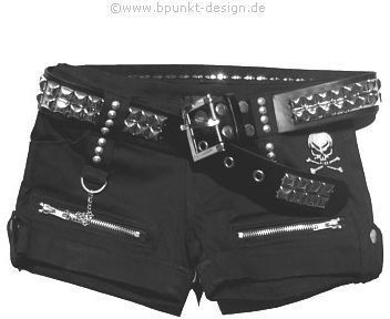 Studded belt, with black shorts, silver chain, rock apparel, women's fashion, rock n roll, heavy metal, goth, emo, post hardcore, screamo, rock the f out.