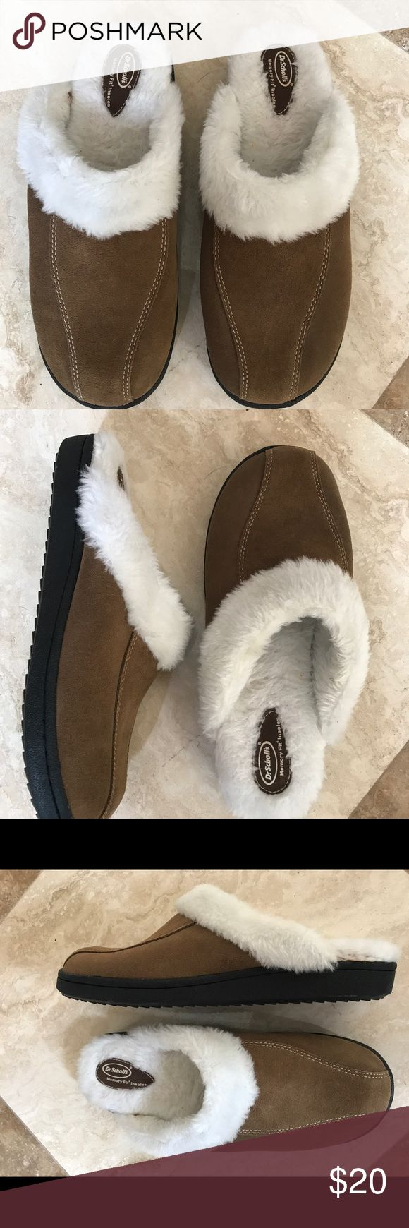 Dr. Scholl's brown leather slippers size  11 Get these fantastic cold-weather slippers for fall into winter. Pristine preowned condition. Size 11 measures 11 1/2 inches. Dr. Scholl's Shoes Slippers