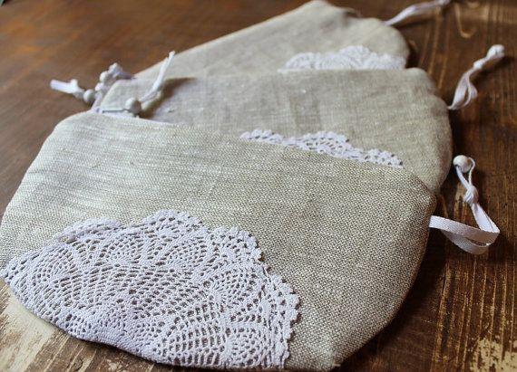Linen purse pouch vintage crochet  bag vallet  nature by BYildi