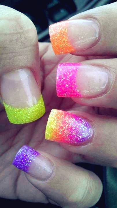 sparkly neon french tip nails and they wouldn't break nor would i poke myself in the eye with them