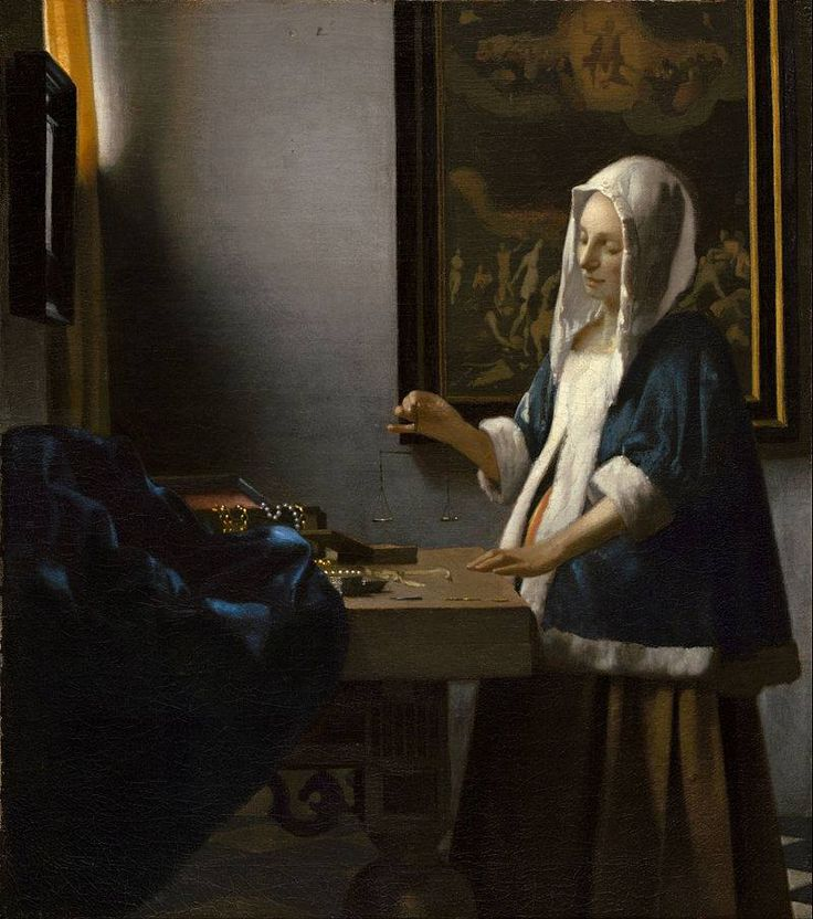 Jan Vermeer Pesatrice di perle 1664 olio su tela 40,3×35,6 cm National Gallery of Art, Washington