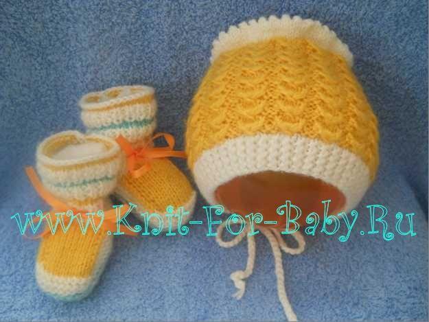 Теплая вязаная шапочка для новорожденного