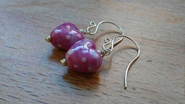 Pink polka dot heart earrings, sterling silver earrings £16.00