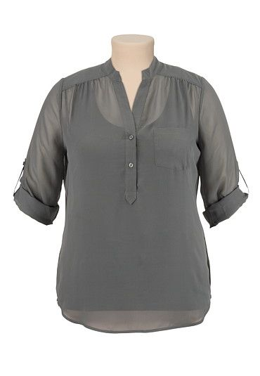 3/4 sleeve chiffon blouse - in beet red - (original price, $34) available at #Maurices