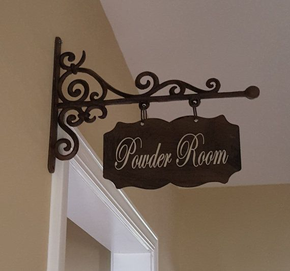 Small RECTANGULAR Metal Plaque and Bracket with Custom Lettering - Powder Room/Laundry Room/Pantry/Guest Room/Office/Bathroom/Bath/etc.