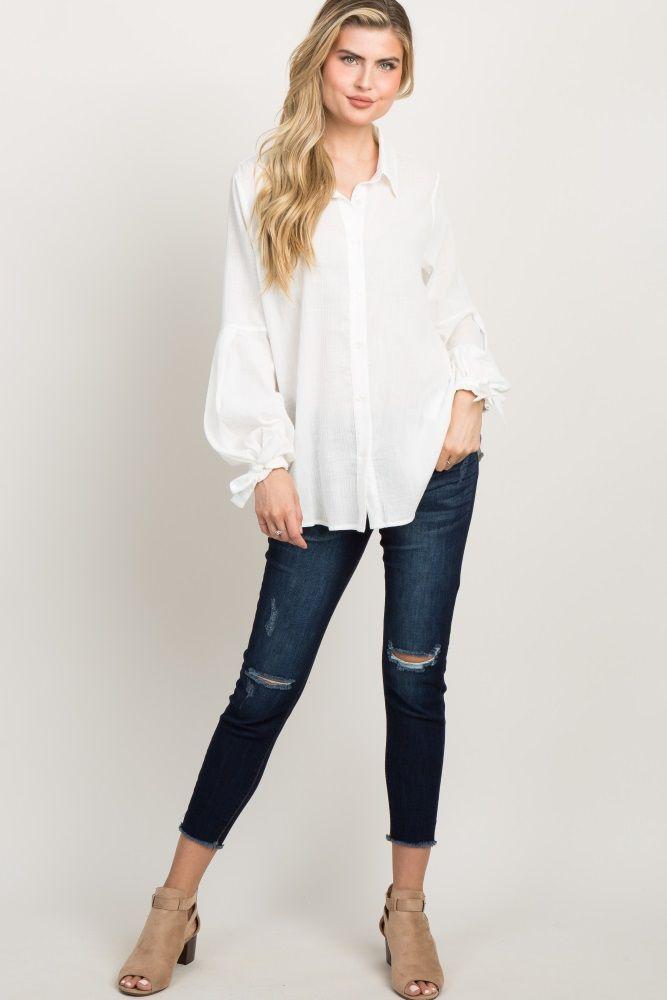 3809bddfa8e8b6 White Button Up Puff Sleeve Top