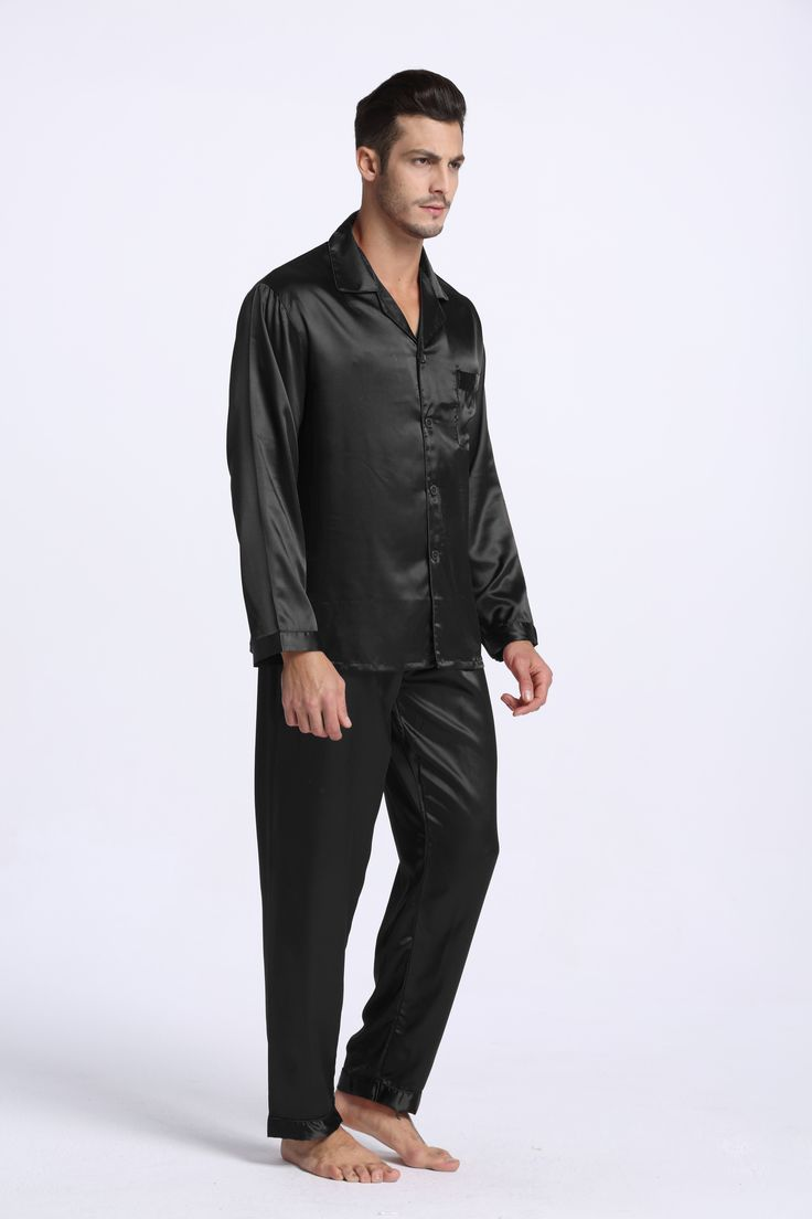 silky satin pajama set for men, classic sleepwear, a good choice for  Father's Day