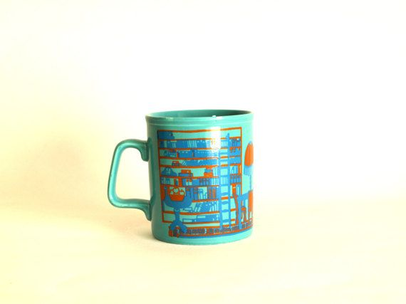 Staffordshire Potteries Teal Mug  Retro 70s Lounge by FunkyKoala