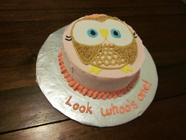 Owl smash cake for Joeleigh's 1st b-day by nicole