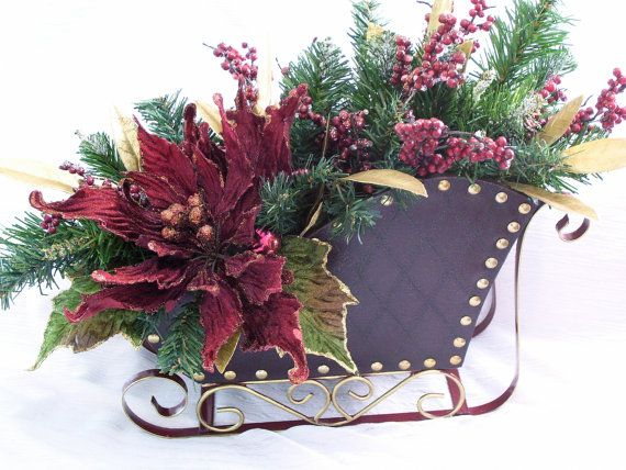 Burgundy Floral in Brown and Red Sleigh by DollmakerNic on Etsy, $65.00  For your Mantle, Table Centerpiece or Cocktail Table.  Brown Quilted look Sleigh w/Red Runners...Raz Burgundy Ponseitta, Iced Berries, Gold Leaves......See to Believe!