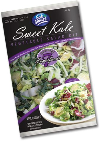 Sweet Kale Vegetable Salad Kit - Costco, of course - A Unique Blend of Vegetables Contains 7 Superfoods -Broccoli -Brussels Sprouts -Green Cabbage -Kale -Chicory -Cranberries -Pumpkin Seeds -Poppyseed Dressing