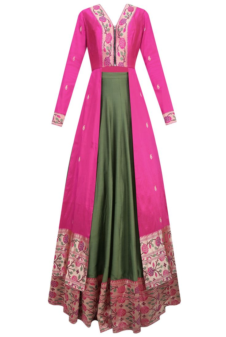 Dresses skirts clothes women disney store - Pink Floral Pathani Work Jacket Style Kurta With Green Flared Skirt Available