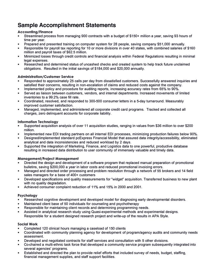 Accomplishments Resume Are Indeed Important Part Of Any Resumes You Make From The Accomplishments Then Cover Letter For Resume Job Resume Job Resume Examples