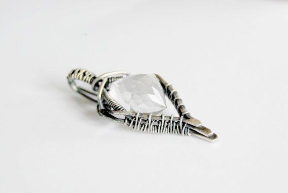 Bergkristal hanger, sterling zilver, geoxideerd, wire wrapped
