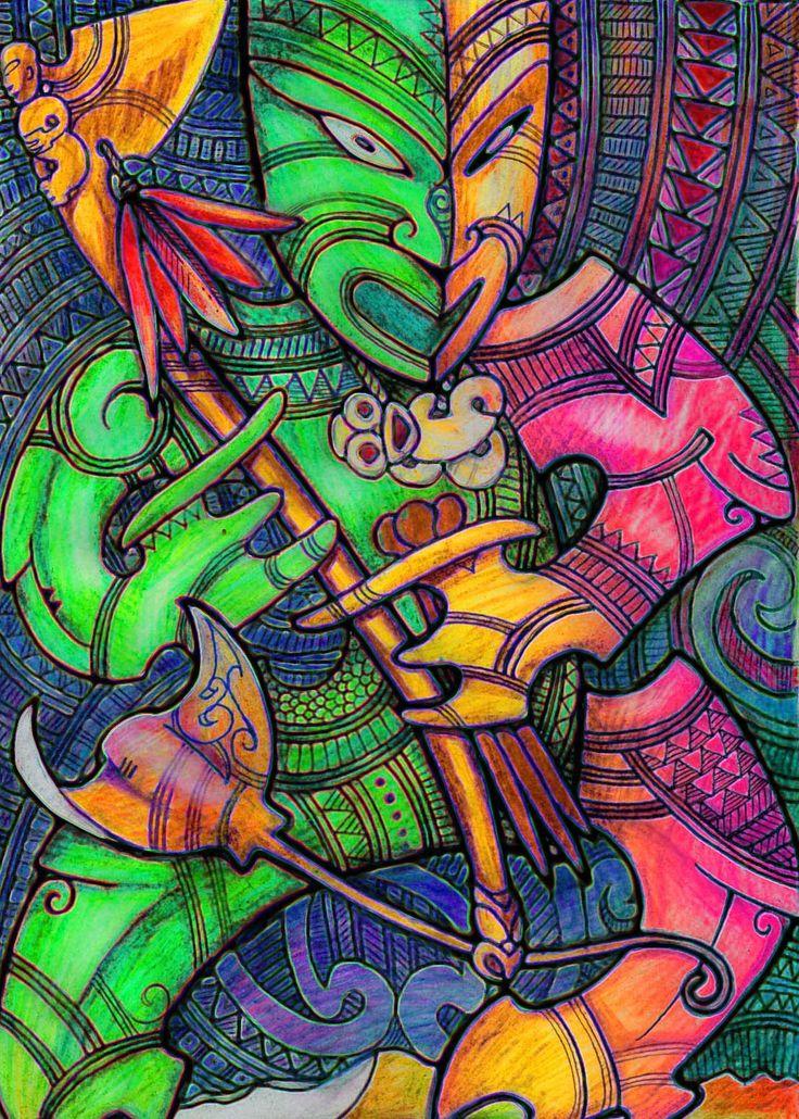 maori nz tiki warren designs patterns creative pohatu zealand te god polynesian wall sun ra symbols totem drawing hei artist