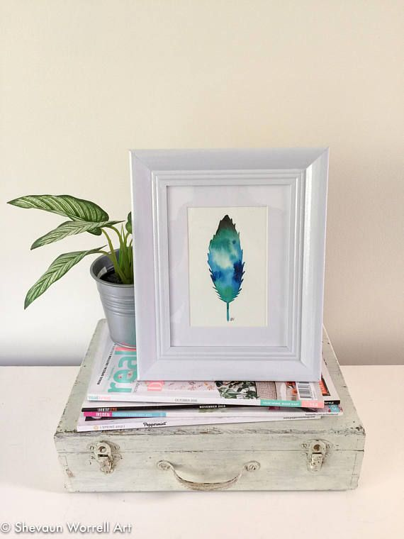 Watercolour feather. Original painting in white frame. Blue