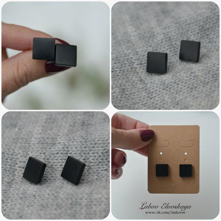 """Серьги-гвоздики """"Черный квадрат""""  размер: 1,2*1,2 см"""