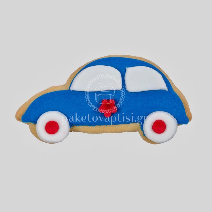 Μπισκότο Βάπτισης Μπλε Αυτοκινητάκι