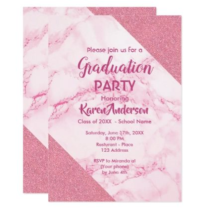 Pink marble and glitter graduation party invite - graduation party invitations card cards cyo grad celebration