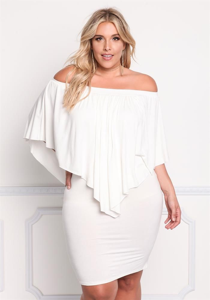 Plus Size Clothing | Plus Size Off Shoulder Layered Pointed Dress | Debshops