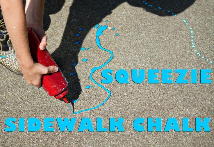 Squeezie Sidewalk Chalk - Sidewalk Paint RecipeSqueezy Sidewalk, Food Colors, Sidewalk Painting, Walks Painting, Sidewalk Chalk, Painting Recipe, Kids Art, Hands Strengthening, Chalk Painting