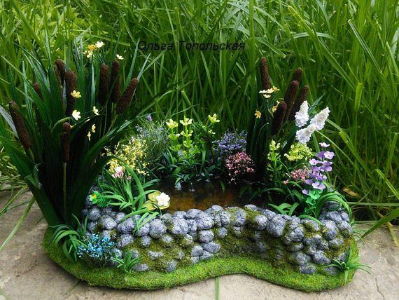 Dollhouse Landscape. Pond for garden. 984 inches Miniature